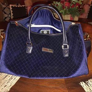 Vince Camuto Navy Velvet Weekender Duffle Bag